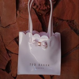 $59 Ted Baker Pale Pink With Gold Bow Large Tote B